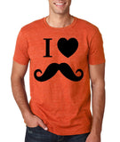 "I Love Mustache Mens T Shirt Black-T Shirts-Gildan-Heather Orange-S To Fit Chest 36-38"" (91-96cm)-Daataadirect"