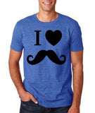"I Love Mustache Mens T Shirt Black-T Shirts-Gildan-Heather Royal-S To Fit Chest 36-38"" (91-96cm)-Daataadirect"