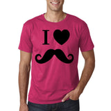"I Love Mustache Mens T Shirt Black-T Shirts-Gildan-Heliconia-S To Fit Chest 36-38"" (91-96cm)-Daataadirect"