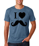 "I Love Mustache Mens T Shirt Black-T Shirts-Gildan-Indigo Blue-S To Fit Chest 36-38"" (91-96cm)-Daataadirect"
