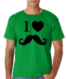 "I Love Mustache Mens T Shirt Black-T Shirts-Gildan-Irish Green-S To Fit Chest 36-38"" (91-96cm)-Daataadirect"