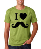 "I Love Mustache Mens T Shirt Black-T Shirts-Gildan-Kiwi-S To Fit Chest 36-38"" (91-96cm)-Daataadirect"