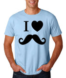 "I Love Mustache Mens T Shirt Black-T Shirts-Gildan-Light Blue-S To Fit Chest 36-38"" (91-96cm)-Daataadirect"