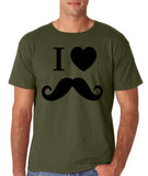 "I Love Mustache Mens T Shirt Black-T Shirts-Gildan-Military Green-S To Fit Chest 36-38"" (91-96cm)-Daataadirect"