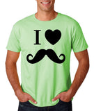 "I Love Mustache Mens T Shirt Black-T Shirts-Gildan-Mint Green-S To Fit Chest 36-38"" (91-96cm)-Daataadirect"