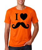 "I Love Mustache Mens T Shirt Black-T Shirts-Gildan-Orange-S To Fit Chest 36-38"" (91-96cm)-Daataadirect"