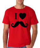 "I Love Mustache Mens T Shirt Black-T Shirts-Gildan-Red-S To Fit Chest 36-38"" (91-96cm)-Daataadirect"