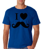 "I Love Mustache Mens T Shirt Black-T Shirts-Gildan-Royal-S To Fit Chest 36-38"" (91-96cm)-Daataadirect"