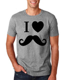 "I Love Mustache Mens T Shirt Black-T Shirts-Gildan-Sport Grey-S To Fit Chest 36-38"" (91-96cm)-Daataadirect"
