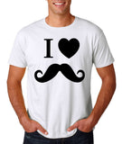 "I Love Mustache Mens T Shirt Black-T Shirts-Gildan-White-S To Fit Chest 36-38"" (91-96cm)-Daataadirect"
