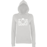 "I Love Photography Women Hoodies White-Hoodies-AWD-Ash-XS UK 8 Euro 32 Bust 30""-Daataadirect"