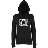 "I Love Photography Women Hoodies White-Hoodies-AWD-Black-XS UK 8 Euro 32 Bust 30""-Daataadirect"