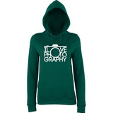 "I Love Photography Women Hoodies White-Hoodies-AWD-Bottle Green-XS UK 8 Euro 32 Bust 30""-Daataadirect"