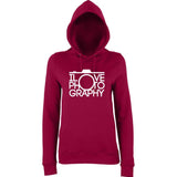 "I Love Photography Women Hoodies White-Hoodies-AWD-Burgundy-XS UK 8 Euro 32 Bust 30""-Daataadirect"