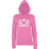 "I Love Photography Women Hoodies White-Hoodies-AWD-Candyfloss Pink-XS UK 8 Euro 32 Bust 30""-Daataadirect"