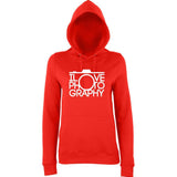 "I Love Photography Women Hoodies White-Hoodies-AWD-Fire Red-XS UK 8 Euro 32 Bust 30""-Daataadirect"