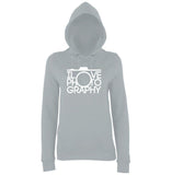 "I Love Photography Women Hoodies White-Hoodies-AWD-Heather Grey-XS UK 8 Euro 32 Bust 30""-Daataadirect"
