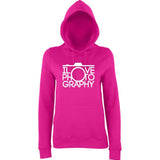 "I Love Photography Women Hoodies White-Hoodies-AWD-Hot Pink-XS UK 8 Euro 32 Bust 30""-Daataadirect"