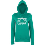 "I Love Photography Women Hoodies White-Hoodies-AWD-Jade-XS UK 8 Euro 32 Bust 30""-Daataadirect"
