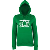 "I Love Photography Women Hoodies White-Hoodies-AWD-Kelly Green-XS UK 8 Euro 32 Bust 30""-Daataadirect"