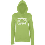 "I Love Photography Women Hoodies White-Hoodies-AWD-Lime Green-XS UK 8 Euro 32 Bust 30""-Daataadirect"