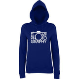 "I Love Photography Women Hoodies White-Hoodies-AWD-New French Navy-XS UK 8 Euro 32 Bust 30""-Daataadirect"