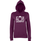"I Love Photography Women Hoodies White-Hoodies-AWD-Plum-XS UK 8 Euro 32 Bust 30""-Daataadirect"