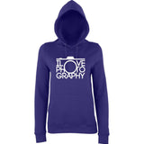 "I Love Photography Women Hoodies White-Hoodies-AWD-Purple-XS UK 8 Euro 32 Bust 30""-Daataadirect"