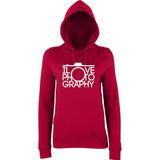 "I Love Photography Women Hoodies White-Hoodies-AWD-Red Hot Chilli-XS UK 8 Euro 32 Bust 30""-Daataadirect"