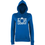 "I Love Photography Women Hoodies White-Hoodies-AWD-Royal Blue-XS UK 8 Euro 32 Bust 30""-Daataadirect"