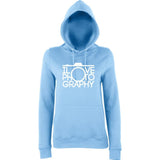"I Love Photography Women Hoodies White-Hoodies-AWD-Sky Blue-XS UK 8 Euro 32 Bust 30""-Daataadirect"
