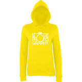 "I Love Photography Women Hoodies White-Hoodies-AWD-Sun Yellow-XS UK 8 Euro 32 Bust 30""-Daataadirect"