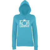 "I Love Photography Women Hoodies White-Hoodies-AWD-Turquoise Surf-XS UK 8 Euro 32 Bust 30""-Daataadirect"