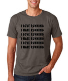 "I love running I hate running Black mens T Shirt-T Shirts-Gildan-Charcoal-S To Fit Chest 36-38"" (91-96cm)-Daataadirect"