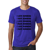 "I love running I hate running Black mens T Shirt-T Shirts-Gildan-Cobalt-S To Fit Chest 36-38"" (91-96cm)-Daataadirect"