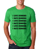"I love running I hate running Black mens T Shirt-T Shirts-Gildan-Heather Irish Green-S To Fit Chest 36-38"" (91-96cm)-Daataadirect"