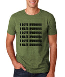 "I love running I hate running Black mens T Shirt-T Shirts-Gildan-Heather Military Green-S To Fit Chest 36-38"" (91-96cm)-Daataadirect"