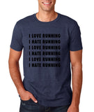 "I love running I hate running Black mens T Shirt-T Shirts-Gildan-Heather Navy-S To Fit Chest 36-38"" (91-96cm)-Daataadirect"