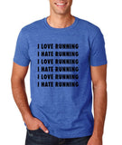"I love running I hate running Black mens T Shirt-T Shirts-Gildan-Heather Royal-S To Fit Chest 36-38"" (91-96cm)-Daataadirect"