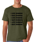 "I love running I hate running Black mens T Shirt-T Shirts-Gildan-Military Green-S To Fit Chest 36-38"" (91-96cm)-Daataadirect"