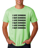 "I love running I hate running Black mens T Shirt-T Shirts-Gildan-Mint Green-S To Fit Chest 36-38"" (91-96cm)-Daataadirect"