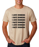 "I love running I hate running Black mens T Shirt-T Shirts-Gildan-Sand-S To Fit Chest 36-38"" (91-96cm)-Daataadirect"