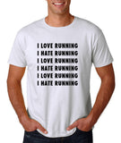 "I love running I hate running Black mens T Shirt-T Shirts-Gildan-White-S To Fit Chest 36-38"" (91-96cm)-Daataadirect"