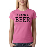 "I need a beer Black Womens T Shirt-T Shirts-Gildan-Azalea-S UK 10 Euro 34 Bust 32""-Daataadirect"
