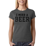"I need a beer Black Womens T Shirt-T Shirts-Gildan-Charcoal-S UK 10 Euro 34 Bust 32""-Daataadirect"