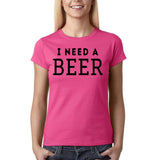 "I need a beer Black Womens T Shirt-T Shirts-Gildan-Heliconia-S UK 10 Euro 34 Bust 32""-Daataadirect"