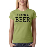 "I need a beer Black Womens T Shirt-T Shirts-Gildan-Kiwi-S UK 10 Euro 34 Bust 32""-Daataadirect"