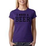 "I need a beer Black Womens T Shirt-T Shirts-Gildan-Purple-S UK 10 Euro 34 Bust 32""-Daataadirect"