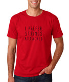 "I prefer strings attached Black mens T Shirt-T Shirts-Gildan-Cherry Red-S To Fit Chest 36-38"" (91-96cm)-Daataadirect"