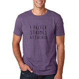 "I prefer strings attached Black mens T Shirt-T Shirts-Gildan-Heather Purple-S To Fit Chest 36-38"" (91-96cm)-Daataadirect"